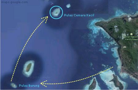 Pulau Cemoro Kecil dilihat dari atas