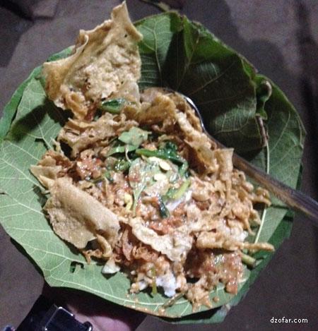 Nasi Pecel Bungkus daun jati