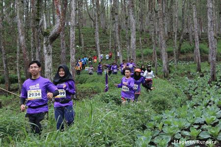 berlari di hutan