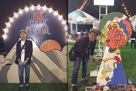 menggambar di folk music festival