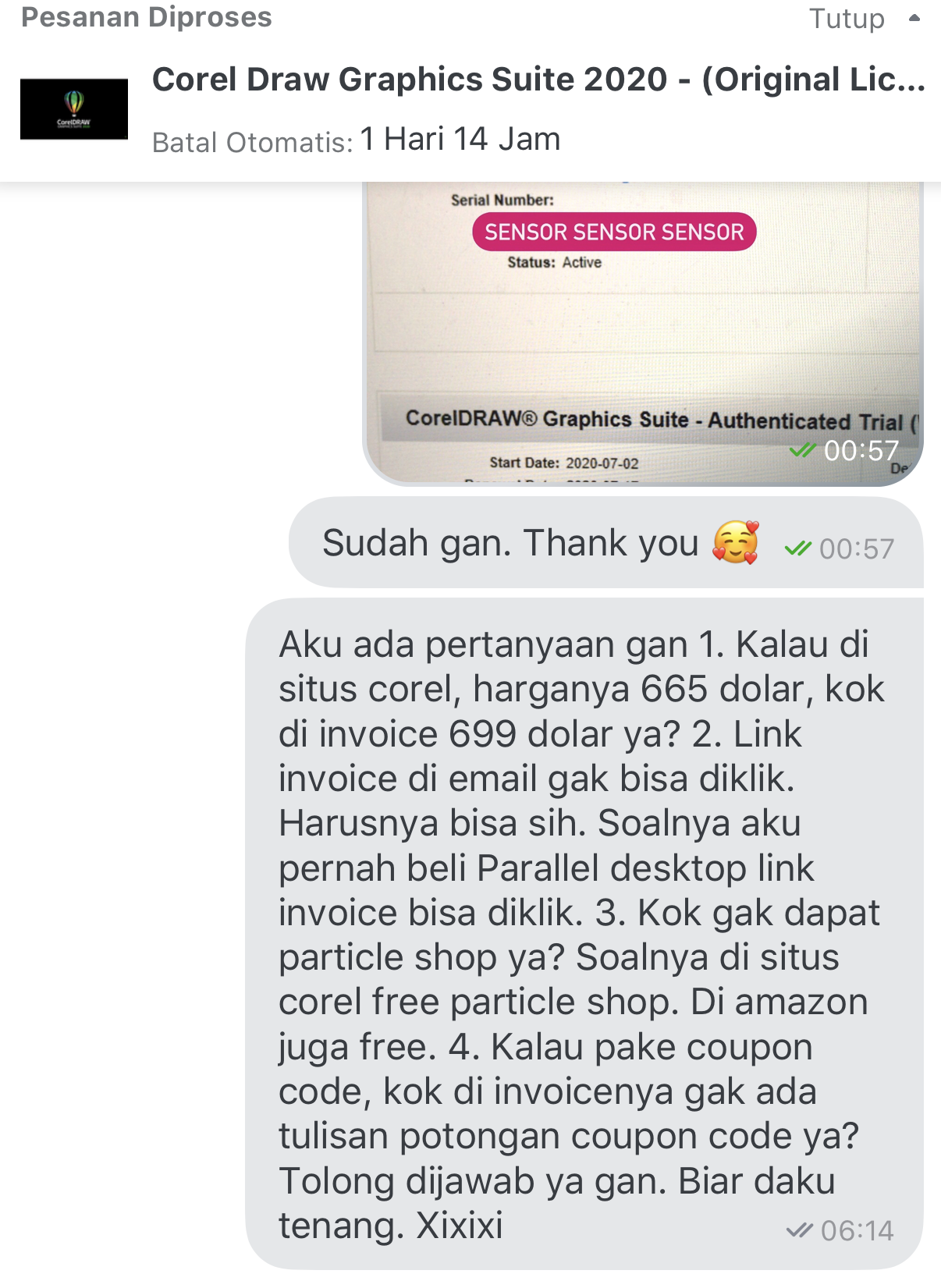 Chat ke seller