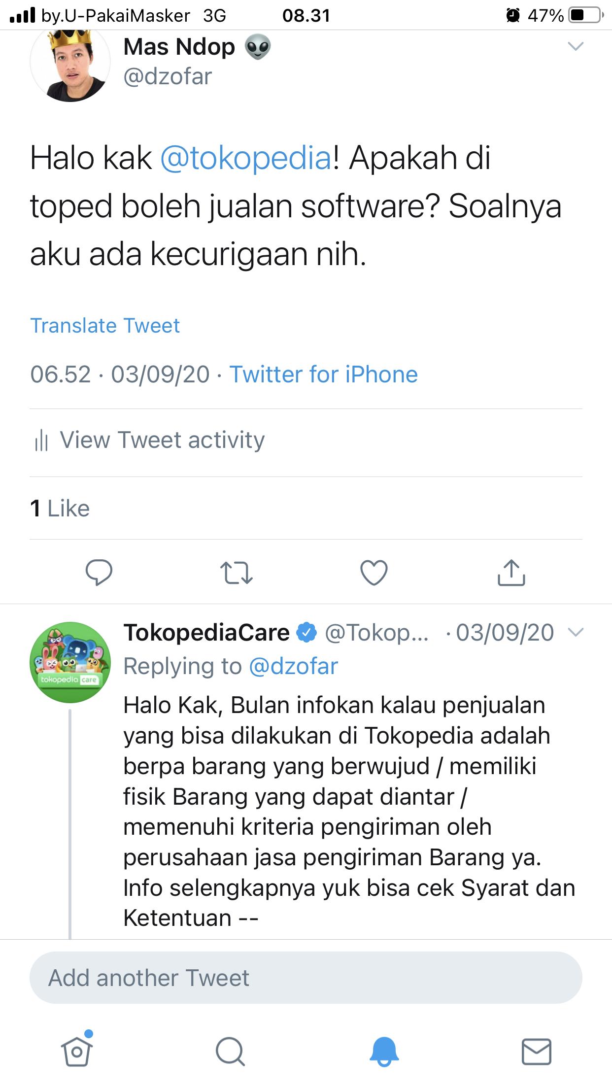Twitter TokopediaCare