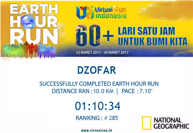 Sertifikat Earth Hour Run 2017
