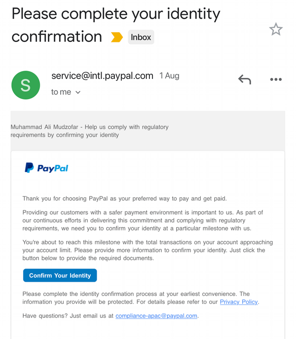 email paypal limit