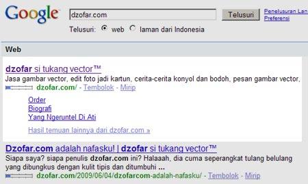 list link halaman dzofar.com di pencarian google