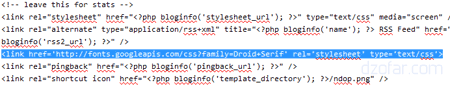 masang google font di header.php