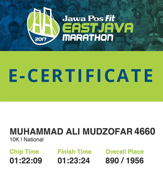 e certificate Jawa Pos Fit Marathon Surabaya