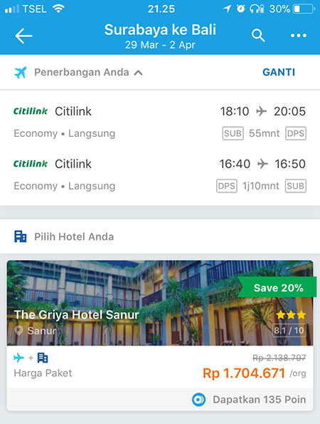 Harga paket Pesawat + Hotel