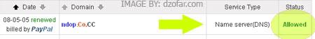 status allowed setelah renew co.cc dengan 3 dolar paypal
