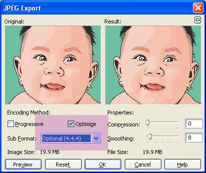 Kotak dialog preview dan optimize